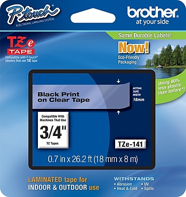 Brother TZe 141 3 4 P Touch Label Tape Black on Clear