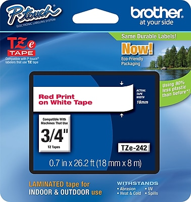 Brother TZe 242 3 4 P Touch Label Tape Red on White