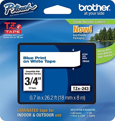 Brother TZe 243 3 4 P Touch Label Tape Blue on White