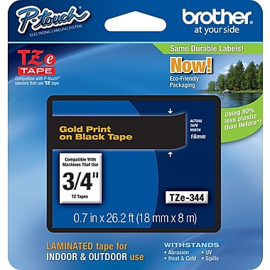 Brother TZe-344 P-Touch Label Tape, 3/4in. Gold on Black