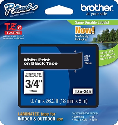 Brother TZe 345 3 4 P Touch Label Tape White on Black