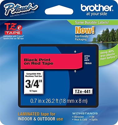 Brother TZe 441 3 4 P Touch Label Tapes Black on Red