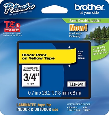 Brother TZe 641 3 4 P Touch Label Tape Black on Yellow