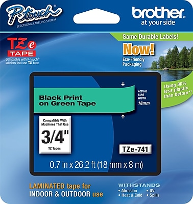 Brother TZe 741 3 4 P Touch Label Tape Black on Green