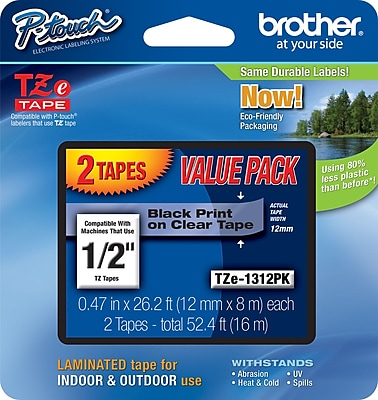 Brother TZe 1312PK 1 2 P Touch Label Tape Black Print on Clear Tape 2 Pack