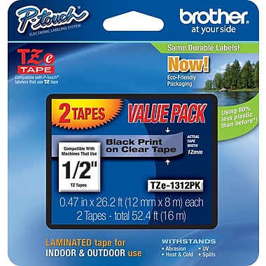 Brother® TZe-1312PK P-Touch® Label Tape, 1/2in. Black on Clear, 2/Pack