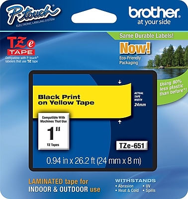 Brother TZe 651 1 P Touch Label Tape Black on Yellow