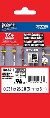Brother TZe S211 1 4 P Touch Label Tape Black on White with Extra Strength Adhesive