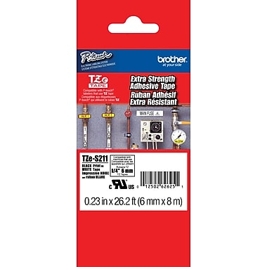 Brother TZe-S211 P-Touch Label Tapes,  1/4in. Black on White with Extra Strength Adhesive