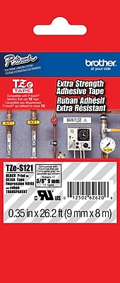 Brother TZe S121 P Touch 3 8 Label Tape Black on Clear with Extra Strength Adhesive