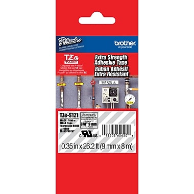 Brother TZe-S121 P-Touch Label Tape,  3/8in. Black on Clear with Extra Strength Adhesive