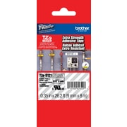 "Brother TZe-S121 P-Touch 3/8"" Label Tape Black on Clear with Extra Strength Adhesive"