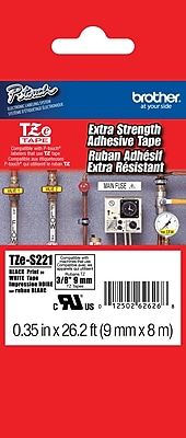 Brother TZe S221 3 8 P Touch Label Tapes Black on White with Extra Strength Adhesive