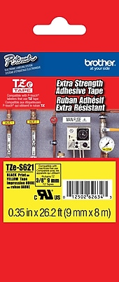 Brother TZe S621 3 8 P Touch Label Tape Black on Yellow with Extra Strength Adhesive