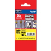 "Brother TZe-S621 3/8"" P-Touch Label Tape, Black on Yellow with Extra-Strength Adhesive"