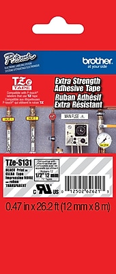 Brother TZe S131 1 2 P Touch Label Tape Black on Clear with Extra Strength Adhesive