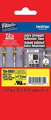 Brother TZe S631 1 2 P Touch Label Tape Black on Yellow with Extra Strength Adhesive
