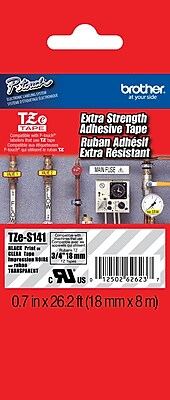 Brother TZe S141 3 4 P Touch Label Tape Black on Clear with Extra Strength Adhesive