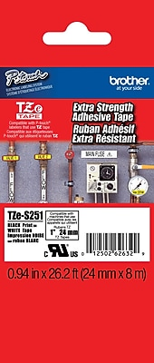 Brother TZe S251 1 P Touch Label Tapes Black on White with Extra Strength Adhesive
