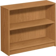 HON® 1870 Series Wood Laminate Bookcase, 2-Shelf, Harvest