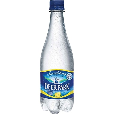Deer Park Lemon Flavored Sparkling Bottled Water, 16.9 oz. Bottles, 24/Case
