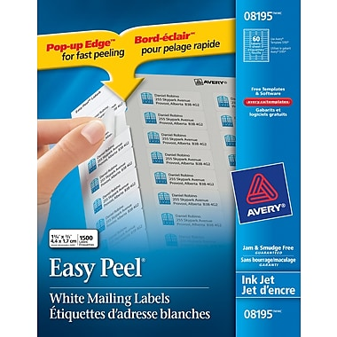 Avery® 8195 White Inkjet Address Labels with Easy Peel®, 2/3in. x 1-3/4in., 1,500/Box