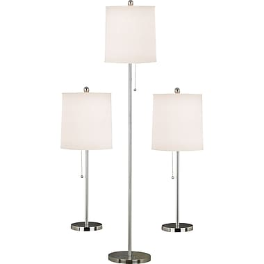 Kenroy Home Selma Table and Floor Lamp Set, Brushed Steel Finish