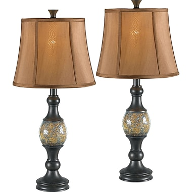 Kenroy Shay Incandescent Table Lamps, Bronze/Amber, 2/Pack