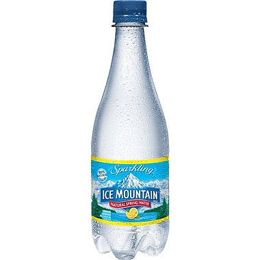 Ice Mountain Sparkling Natural Spring Water, Lemon 16.9-ounce Plastic Bottle, 24/Case