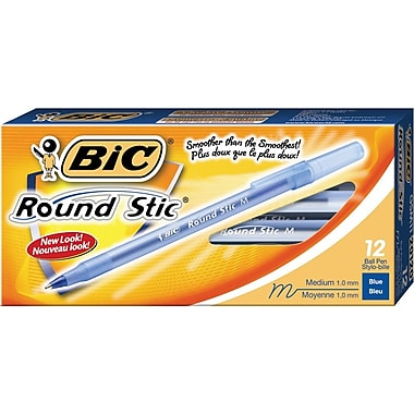 BIC® Round Stic® Ballpoint Pens, 1.0mm, Blue, 12/Pack