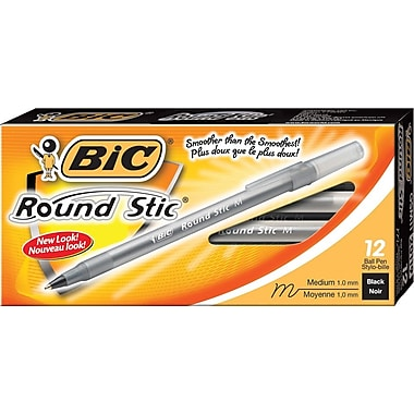 BIC® Round Stic® Ballpoint Pens, 1.0mm, Black, 12/Pack