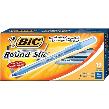 BIC® Round Stic® Ballpoint Pens, 0.7mm, Blue, 12/Pack