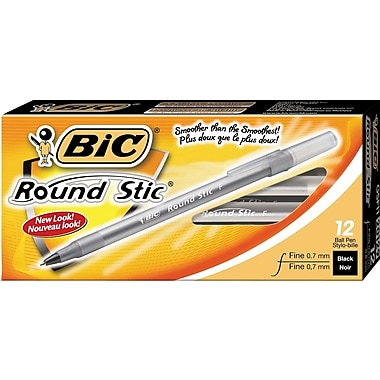 BIC® Round Stic® Ballpoint Pens, 0.7mm, Black, 12/Pack