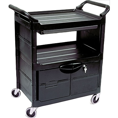 Rubbermaid® Utility Cart with Lockable Doors, Sliding Drawer and Swivel Casters