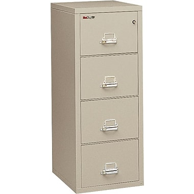 FireKing 1-Hour 4-Drawer 25in. Letter Fire Resistant Vertical Cabinet, Parchment, Inside Delivery