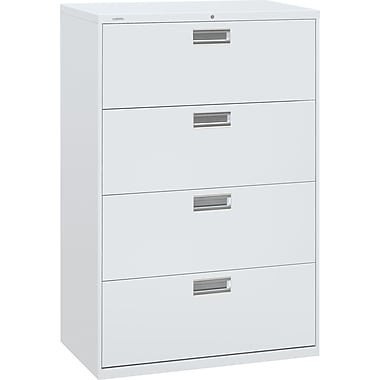 HON Brigade 600 Series Lateral File/Storage Cabinet, 36in. Wide, 4-Drawer, Light Gray