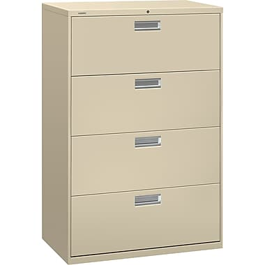 HON® Brigade 600 Series Lateral File Cabinet, 36in. Wide, 4-Drawer, Putty