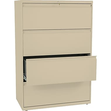 HON® Brigade 800 Series Lateral File Cabinet, 36in. Wide, 4-Drawer, Putty
