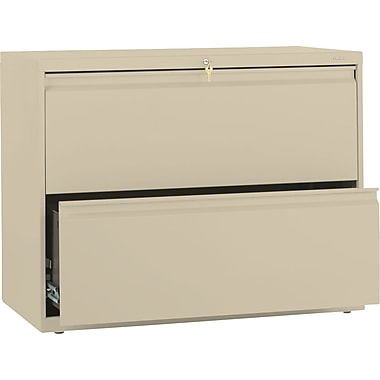 HON Brigade 800 Series Lateral File Cabinet, 36in. Wide, 2-Drawer, Putty