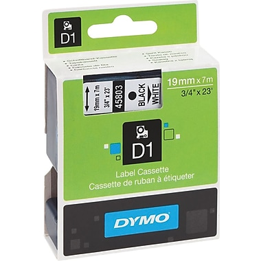 DYMO 3/4in. D1 Label Maker Tape, Black on White