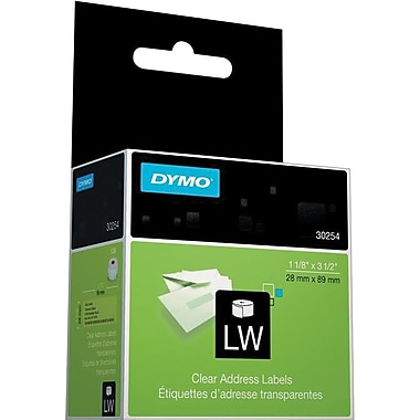 DYMO LabelWriter Clear Address Labels, 1-1/8in. x 3-1/2in.