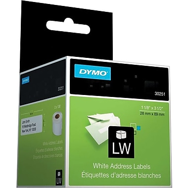 DYMO LabelWriter White Address Labels, 1 1/8in. x 3 1/2in. (130 Labels/Roll)