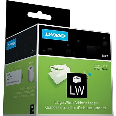 DYMO LabelWriter Large White Address Labels, 1 4/10in.x3 1/2in., 2 rolls of 260