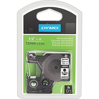 Dymo Black on White - 1/2in. Tape