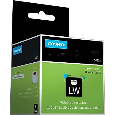 DYMO LabelWriter White Video Spine Labels, 3/4