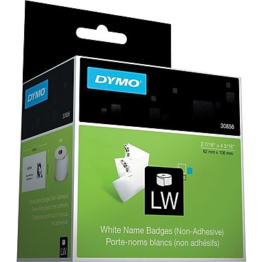 Dymo Nonadhesive Name Badges for Label Printers, White, 2 7/16 x 4 3/16, 250/Roll