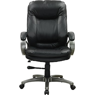 Staples Montbrook Top Grain Leather Mid-Back Managers Chair, Black