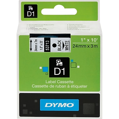 DYMO® - Ruban d'étiquettes D1, 24 mm (1 po), noir sur blanc