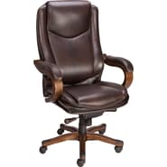 Staples® Eastcott™ Top Grain Leather Executive Mid-Back Chair, Brown