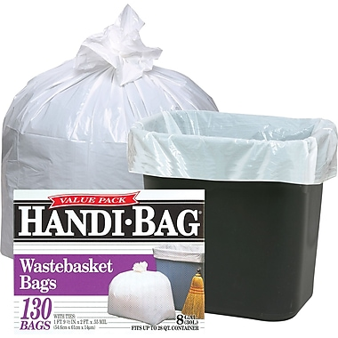 Webster Handi-Bag® Trash Bags Super Value Pack, White, 8 gal.
